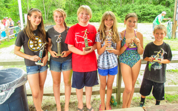 Sunsetview Farm Camping Kids winning trophies.